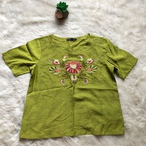 Zara Basic Mexican Heritage Inspired Top NWOT